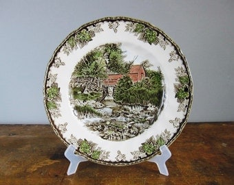 vintage dinner plate, decorative plates, Johnson Brothers, the friendly village, christmas tableware, the lily pond