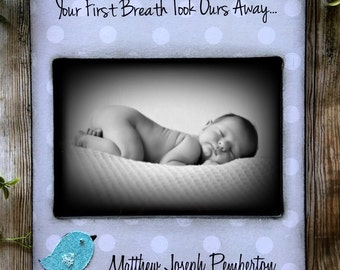 5x7 baby Photo Frame- Personalized with Name and Birth Stats -Bird Bible Verse James 1:17 christian