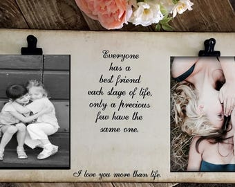 Best Friends, Mom and Daughter, Mother, Sisters, Family Frame, Two Photos, Rustic Picture Frame with 2 photo slots, 5x7 photos, Wedding Gift