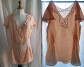 Vintage 1930's shirt silk and lace. powder pink,cap sleeves. Upcycled.