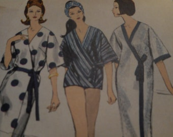 Vintage 1960's Vogue 6177 Wrap Dress or Beach Coat Sewing Pattern, Size 14 Bust 34