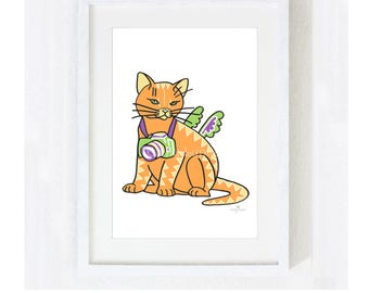 "Illustration Art Print ""Cat With A Camera"" / Cat Pet Portrait / Photography Animal Tiger / Nursery Baby Shower Gift / Pet Memorial Loss"