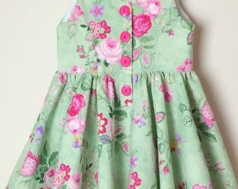 Floral Dress for Girls ~ size 3 ~ green/pink roses