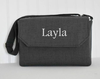 Personalized DSLR Padded Camera Bag in Black and Chevron with Lens Pockets Monogrammed Nikon Canon EOS or Digital