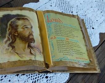Vintage Decoupage Bible. Vintage Francis of Assisi prayer. Vintage bible decor