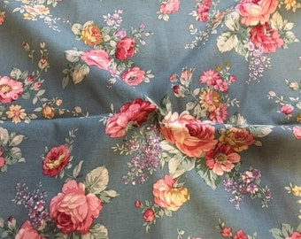 "Cotton Fabric Roses - Blue - 44"" Wide - By the Yard 44698"