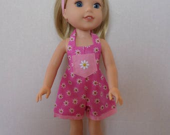 Pink floral summer shorts overalls  romper  American made to fit 14 1/2 inch Wellie Wisher Girl Dolls.