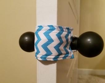 Blue Chevron Door Silencer, Door Jammer, Nursery Door Silencer, Door cushion, Door latch cover, baby shower gift, PATENTED LATCHY CATCHY