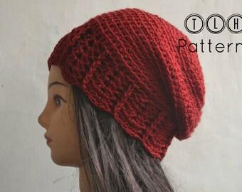 Crochet hat pattern, crochet slouchy beanie, crochet beanie pattern. Slouchy beanie with shell trim, adult size, Pattern No. 34