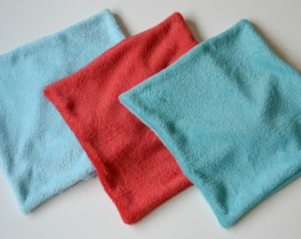"""Set of three minky cushion covers, soft cushion covers, 16"""" x 16"""" cushion cover, envelope closure, turquoise aqua and red covers"""