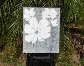 Shabby Chic, Hand painted, Handpainted, Daisies, Rustic Look, Multimedia, Acrylic