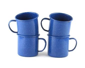Speckled Blue Enamel Cups - Vintage Home Kitchen Decor