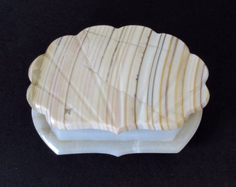 Alabaster Jewelry Box - Seashell Shaped - Scalloped Edge - Vintage Home Decor