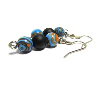 Driven Dangles, Fordite Earrings, Black Rubber Beads, Stainless Steel, Ear Wires, Vintage Car Paint Beads, Motor Agate, Black Rubber Glass
