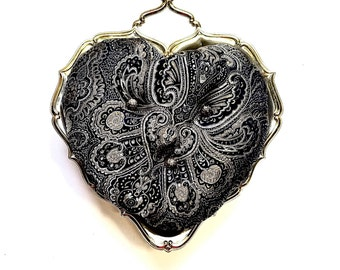 Upcycled-Pincushion-Heart Shaped Silver Dish-Damask Tapestry-Vintage-Sewing Supplies-Gift for Her