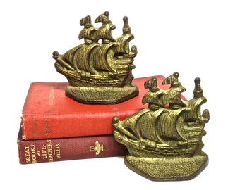 Cast Iron Ship Bookends, Vintage Office Library Nautical Decor, Man Decor