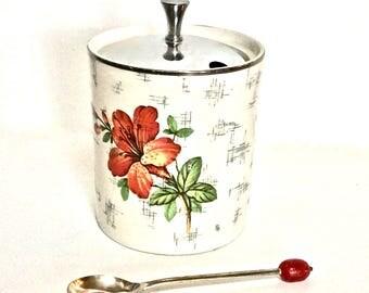 "Staffordshire Semi-Porcelain Mustard Jar with Silver Bean Spoon Selphia by Sheffield, Jar is ""Mid-Winter"" Pattern- Made in England"