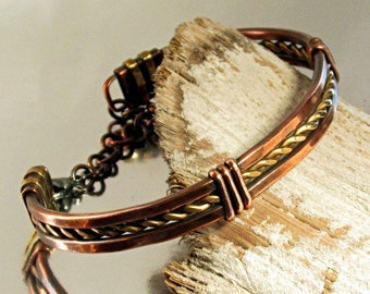 Mens Bracelet, Men's Bangle, Copper and Brass Bangle, Wire Wrapped Mixed Metal Bangle