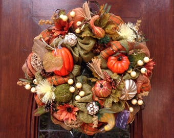 Fall Burlap and Mesh Wreath