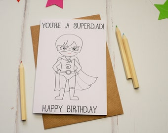 Birthday card for Dads, birthday Card, Colouring In Card, Coloring Card, Superhero Card