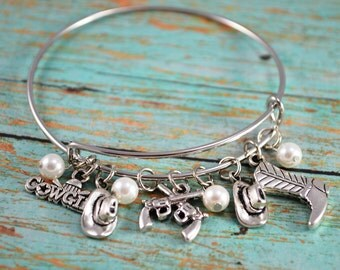 Cowgirl Bangle Bracelet ~ Charm Bracelet ~ Cowgirl Charm Bracelet ~ Country Girls Themed Bracelet