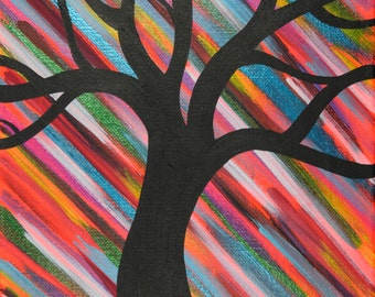 Colorful Whimsical Tree Painting, 9x12 Inch Acrylic Painting on Canvas, Tree Artwork, Wall Decor, Gift Idea, Streaks of Color, Nature Art