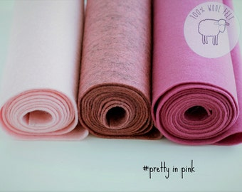Wool felt sheets bundle pretty in pink, pink wool felt  rolls, choose the size of the sheets/rolls , Ships from Ireland