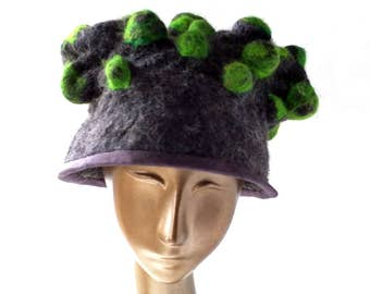 Charcoal Grey Couture Hat with Brim with Needlefelted Green - Mossy Hat of Wearable Art - Fairytale Headpiece