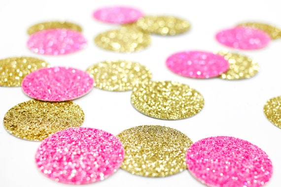 "Neon Pink + Gold Glitter Circle Confetti - 1"" - Wedding. Bachelorette Party. Bridal Shower. Baby Shower. Engagement. First Birthday."