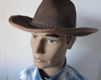 HENSHEL Safari Leather Suede Hat size Medium outback country cowboy