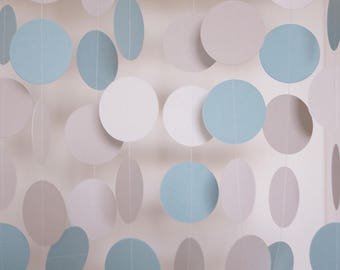 Pastel Blue, Gray and White Paper Garland, Wedding Decor, Birthday Party, Baby Blue Baby Shower Decor, Nursery, 10 feet long
