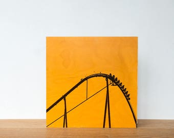 "Roller Coaster, Photo Art Block, 'Joy Ride #10' Limited Edition Image Transfer on 12""x12"" Wood Panel by Patrick Lajoie, amusement park"