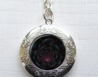 Night Flower Locket, Flower Necklace, Flower Art Jewelry