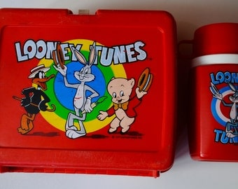 Vintage / Retro Looney Tunes Plastic Lunch Box & Thermos 1977 Bugs Bunny Porky Pig Daffy Duck