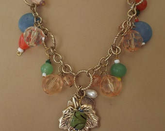 Springtime Colors Beaded Necklace Gold Tone Leaves Focal with Glass Bead Dangles