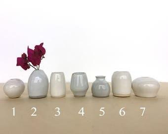 Mini ceramic white vases, miniture , bud vase