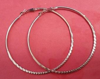 6pc(3pairs) platinum look 70mm hoop earrings-5979A