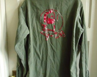 Vintage 70s Hand Embroidered ZIG ZAG Rolling Papers Army Jacket sz M