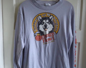 Vintage UW Huskies Orange Bowl Long Sleeved T Shirt TRASHED sz S/M