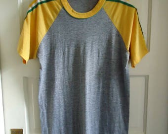 Vintage 80s ATHLETIC Heather Gray T Shirt sz M