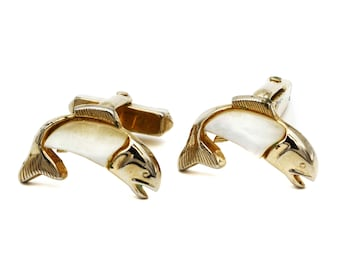 Mens Fish Cufflinks, Gold and MOP CuffLinks, Mother Of Pearl, Vintage 50s, Swank Mens Accessories, Trout Salmon Links, Sportsman Jewelry