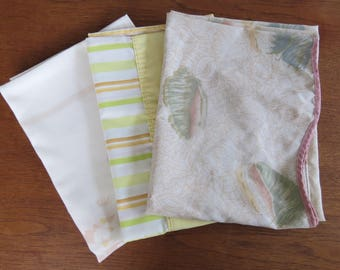 Vintage Pillowcase Lot - 3 Pillowcases in Muted Colors