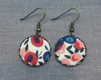 Liberty Fabric Earrings in Wiltshire Blue and Red