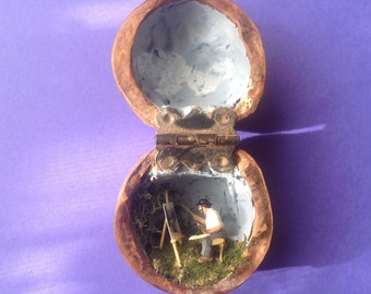 Miniature Artist in a Walnut Shell Diorama Folk Art