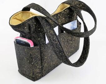 Shoulder Bag Purse, Fall Winter Bag, Black Gold Handbag, Quilted Purse, Tote Bag, Washable, Shoulder Bag, Pockets Outside Inside, Made USA
