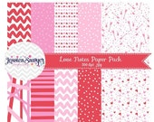 80% OFF - INSTANT DOWNLOAD, valentines day digital paper or pink and red backgrounds for commercial use or personal use
