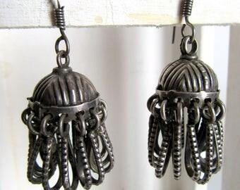 India Earrings.Silver Jumkhas from India.