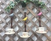Blue Fence Hanging Bird Feeder w/Vintage Tea Cup - Unique Bird Feeder - 1 Blue Bird Feeder - Garden & Fence Decor - Metal Yard Art