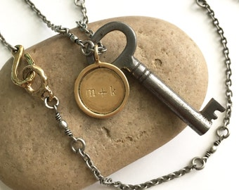 Artisan Hand Stamped Mix Metal Necklace with Vintage Skeleton Key...Men, Father, Husband, Grandfather, Son, Gift, Personalized