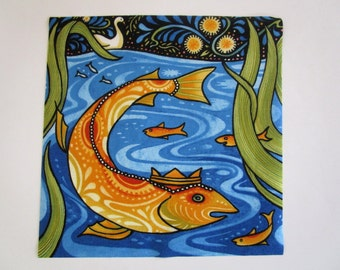 """King Fish Iron On X Large Patch 9"""""""